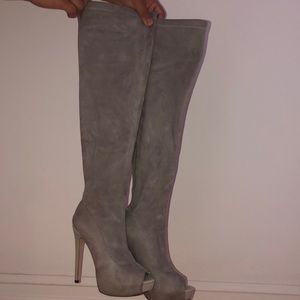 Open toe Bebe suede over the knee boots